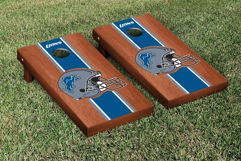 NFL Detroit Lions Rosewood Stained Stripe Version Football Cornhole Game Set, 24'' x 48'', Multicolor by Victory Tailgate (Image #1)