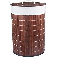 HomeStorie™ Foldable Bamboo Laundry Basket Hamper with Lid, Large - 57 Liter