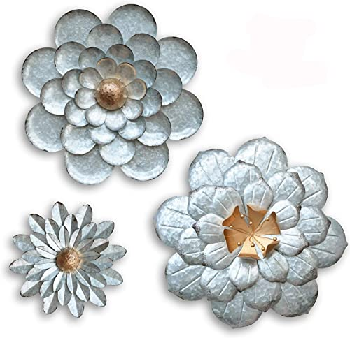 GIFTME 5 Galvanized Flowers Wall Decor Set of 3 Metal Flower Wall Art