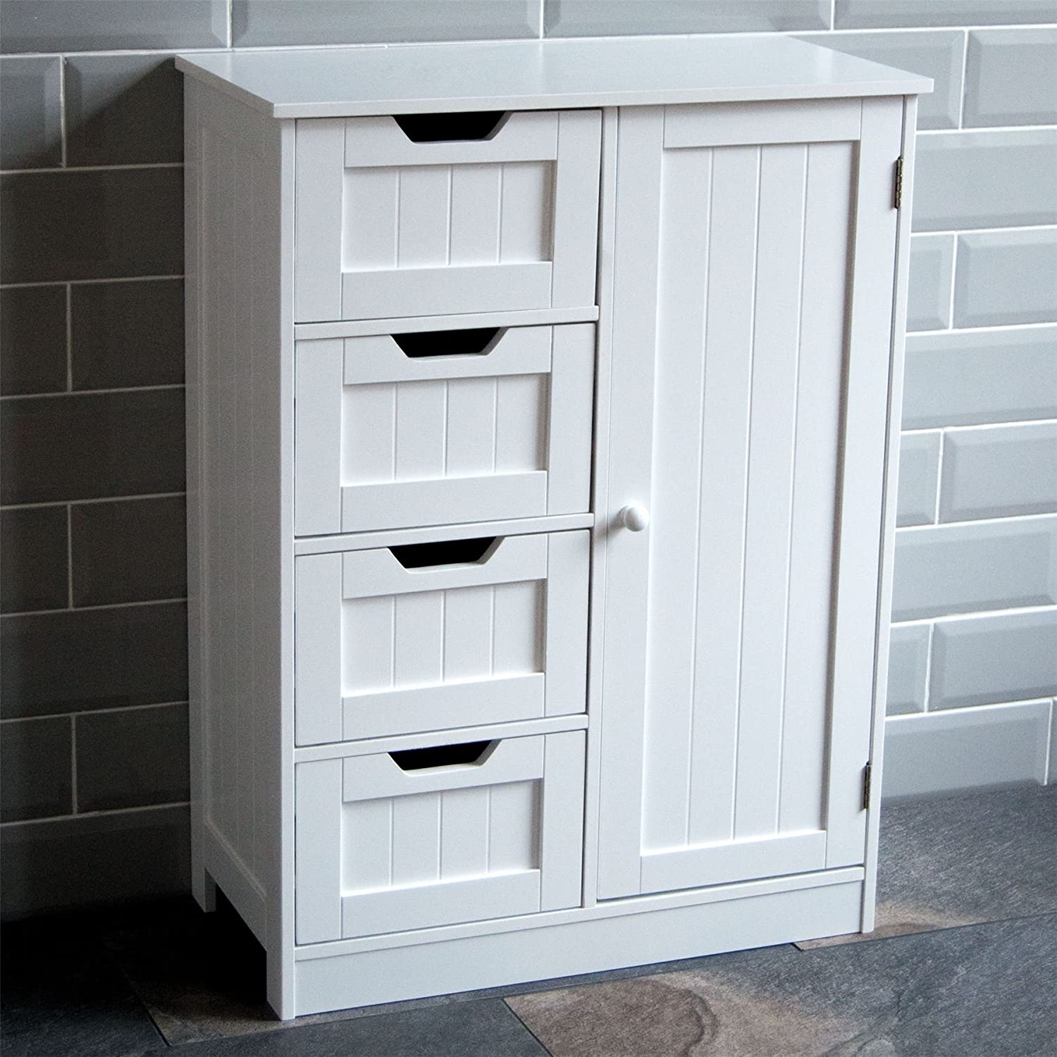 Bathroom storage units free standing - Home Discount Bathroom Cupboard 4 Drawer 1 Door Floor Standing Cabinet Unit Storage Wood White Amazon Co Uk Kitchen Home