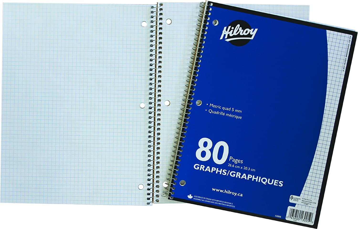 Hilroy 13005 Quad Ruled Notebook, 1 Subject, 3-Hole Punched, 10-1/2x8-Inch, 40-Sheets/80-Pages, Blue
