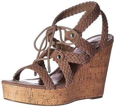 32b74b3451c489 Madden Girl Women s Emboss-c Wedge Sandal Dark Taupe 9 ...