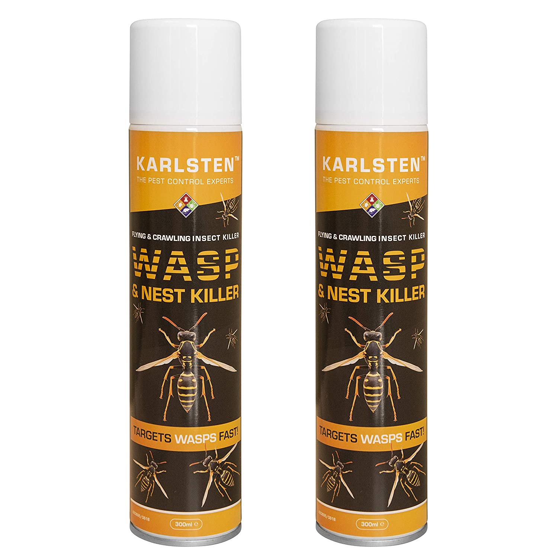 Karlsten Wasp & Nest Killer Aerosol 300 ML X 2 Twin Pack Targets Wasps & Hornets Fast Action On Nests Advanced 2018 Formulation Targets & Kills Wasps Fast lodi uk