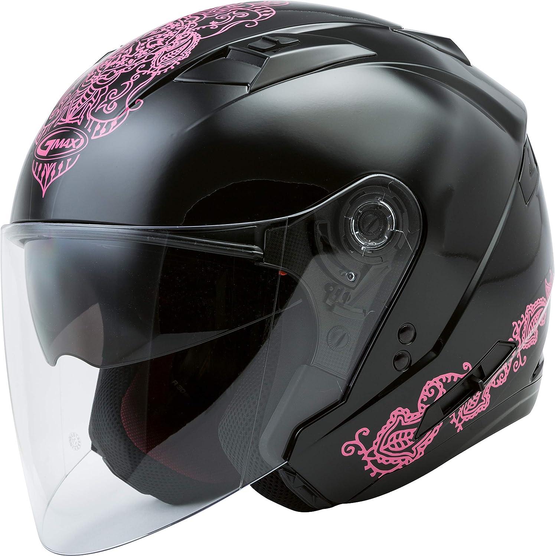 GMAX OF-77 Adult Eternal Open-Face Motorcycle Helmet - Black/Pink/Medium