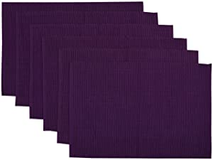 Yourtablecloth Ribbed Cotton Placemats – Placemat with Thicker Construction – Heavy Duty, Eco Friendly & Elegant Large Placemats –Set of 6 –Be it Restaurant or Home – Eggplant