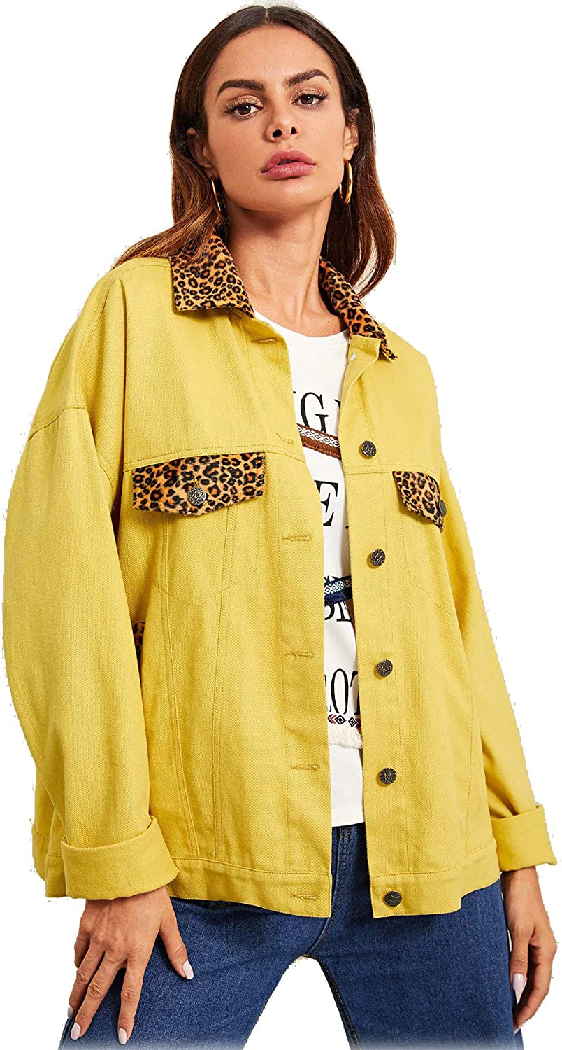 ROMWE Womens Long Sleeve Leopard Graphic Print Button Up Jacket Outwear Top with Pockets