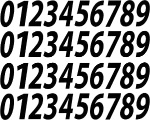 "0-9 Numbers Black Vinyl Sticker Decals Set of 40 Choose Size!! 1"" to 12"" (V546BlackItal) (5"")"