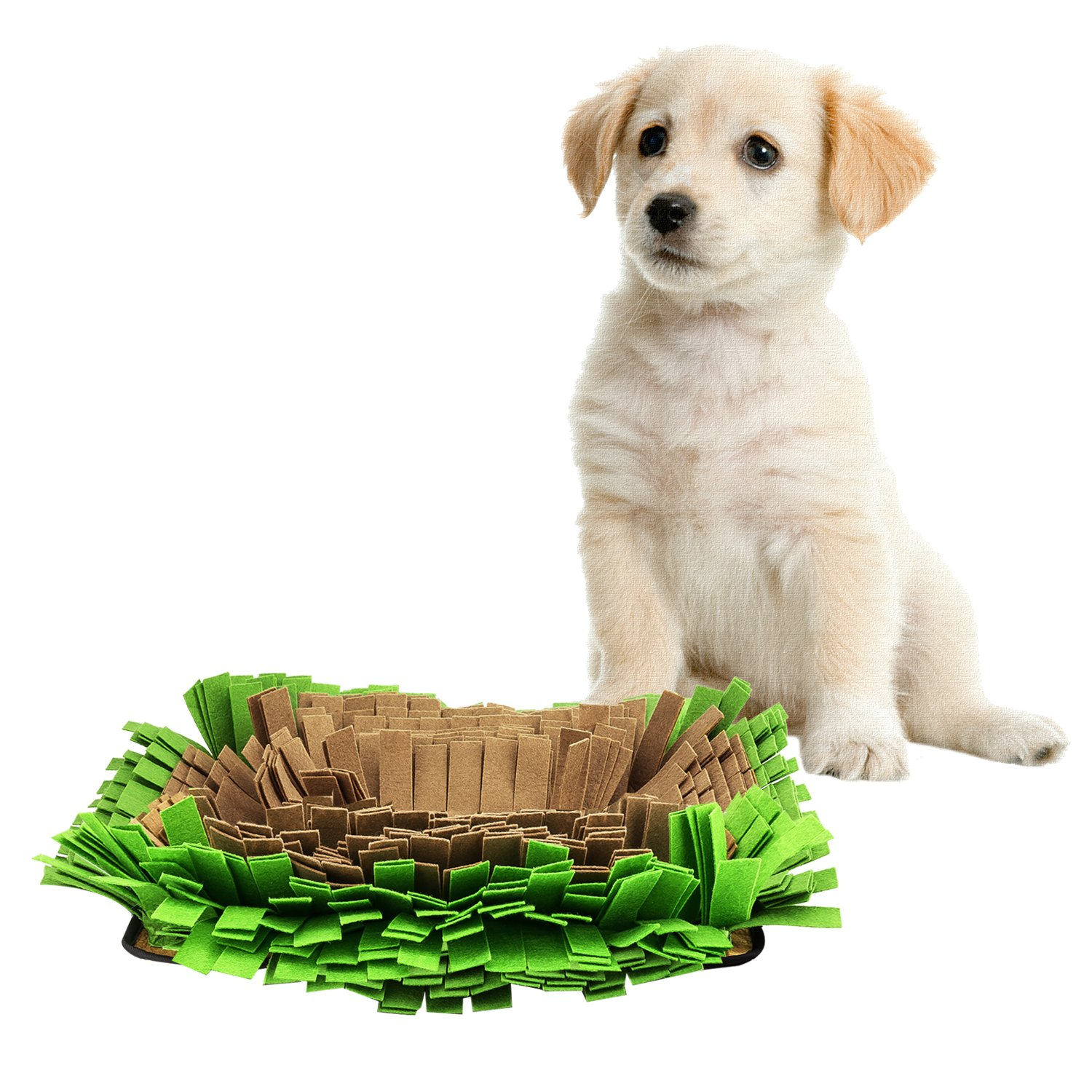 Pawaboo Dog Snuffle Mat, 17.3'' x 12.6'' Premium Foldable Dog Nosework Mat Slow Feeding Mat Dog Training and Feeding Mat Dog Play Mat for Small, Medium and Large Dogs, Brown and Green