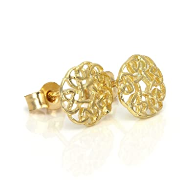b1be09674 9ct Gold 7mm Round Celtic Knot Stud Earrings: Amazon.co.uk: Jewellery