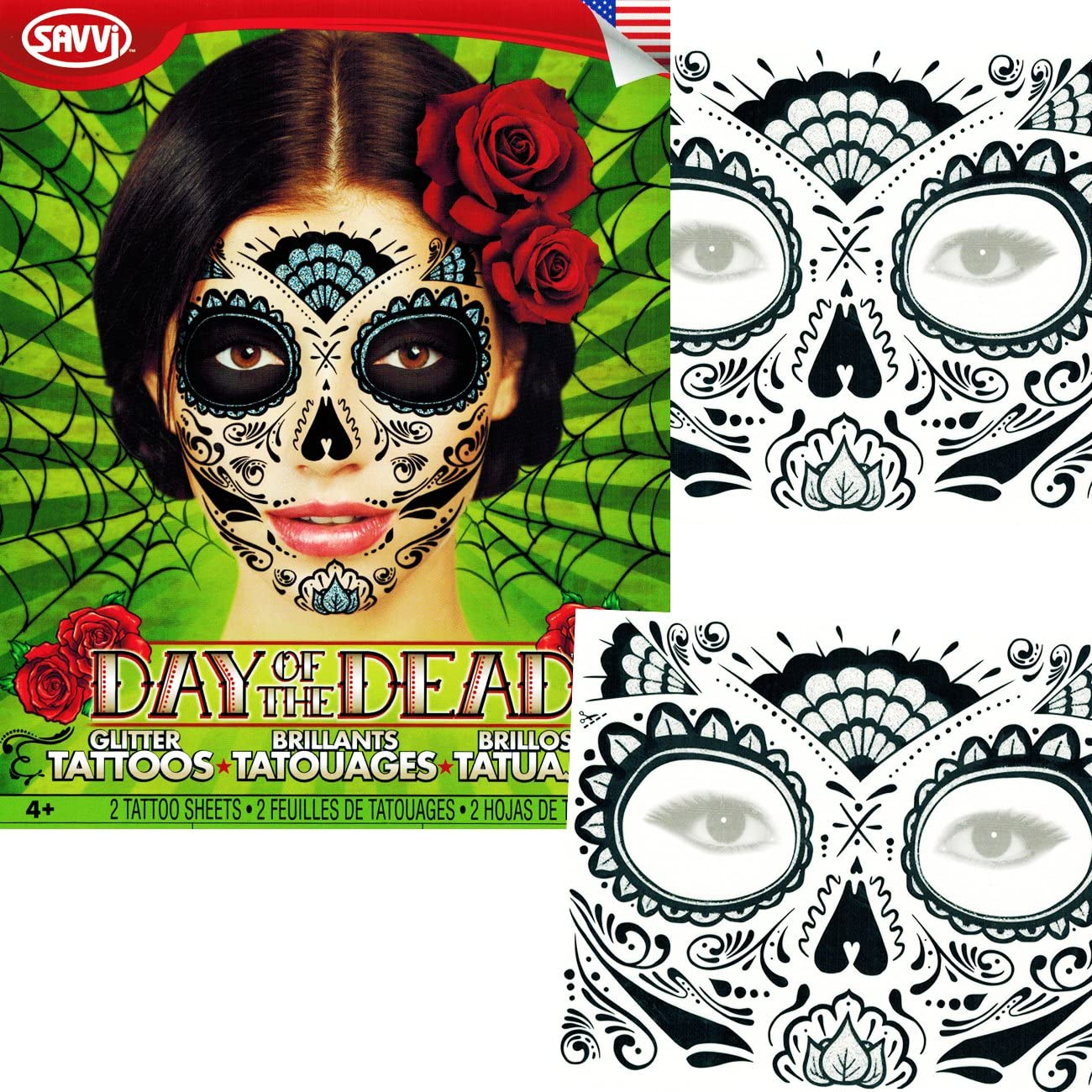 Sugar Skull Temporary Tattoos Costume Kit (Set of 2 Day of the Dead Tattoos, Glitter Web Design)