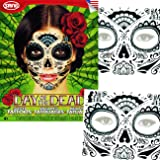 Sugar Skull Temporary Tattoos Costume Kit (Set of 2 Day of the Dead Tattoos, Glitter Web Design)