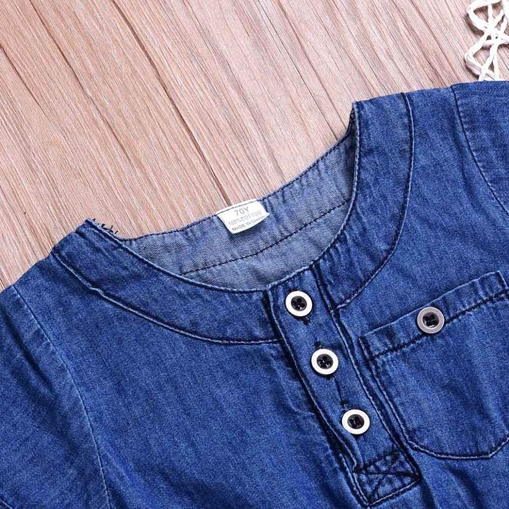 kaiCran Baby Romper,Newborn Baby Boys Girls Short Sleeve Bodysuit Gradient Denim Romper Jumpsuit Clothes