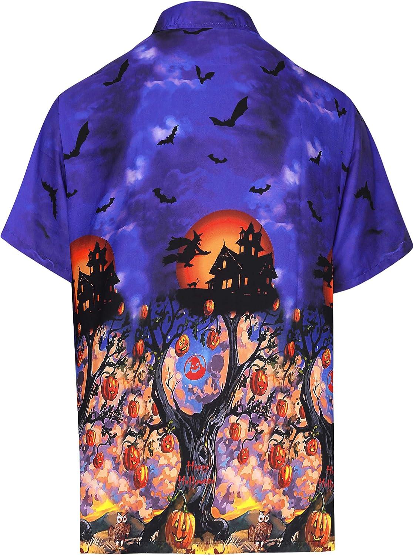HAPPY BAY Bot/ón de los Hombres aba/ño Bolsillo de Manga Corta Camisa de la Playa Disfraz de Vintage Piratas Calabaza Cr/áneo Cosplay Disfraces De Fiesta De Halloween Ghost Pumpkin Camisa para Hombres