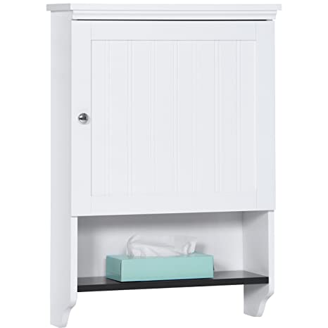 . Best Choice Products Bathroom Wall Mounted Hanging Storage Cabinet  Furniture w Open Shelf  Versatile Door   White