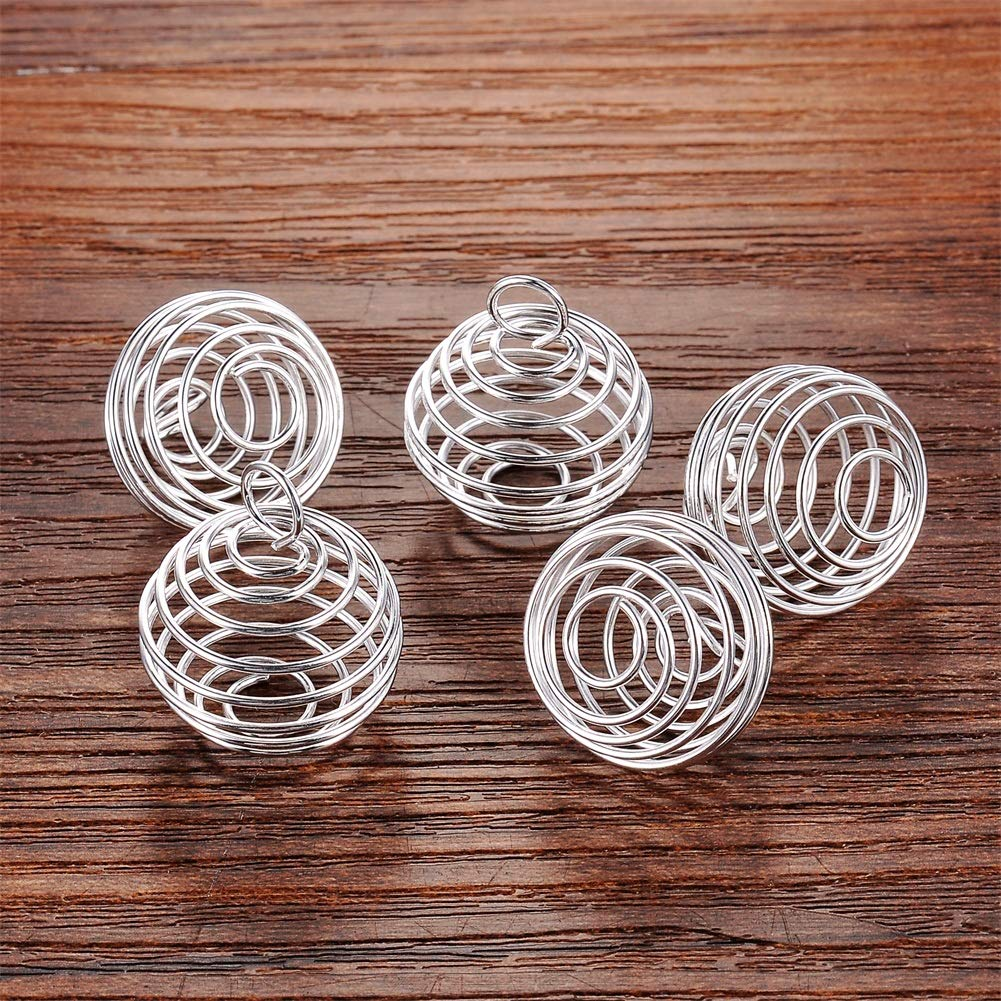 HOUSWEETY 20 Pcs Spiral Bead Cages Pendants Findings 25x20mm