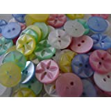 Pack of 100 new 14mm assorted star baby buttons polyester
