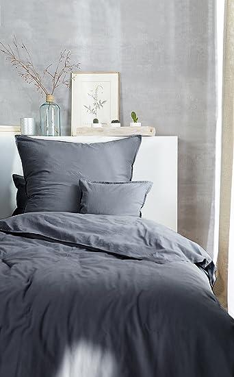 Aminata Home Bettwäsche á 135x200 Cm Baumwolle + Reißverschluss Unifarben  Stonewashed Grau Anthrazit Leinen
