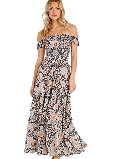 64c5358d68a Spell   The Gypsy Women s Off The Shoulder Maxi Dress Swim Cover Up  Nightfall S