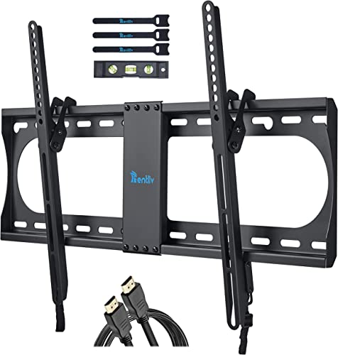 RENTLIV Tilting TV Wall Mount Bracket for Most 37-70 Inches TV, TV Mount with MAX VESA 600x400mm, Loading Capacity up to 132 LBS, fits for 16 18 24 Wood Studs, Low Profile and Space Saving