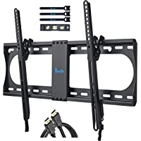 RENTLIV TV Wall Bracket for Most 32-70 Inch TV, Tilting TV Mount with MAX VESA 600x400mm, Loading Capacity up to 60 kg-Bonus Bubble Level, HDMI Cable, Cable Ties