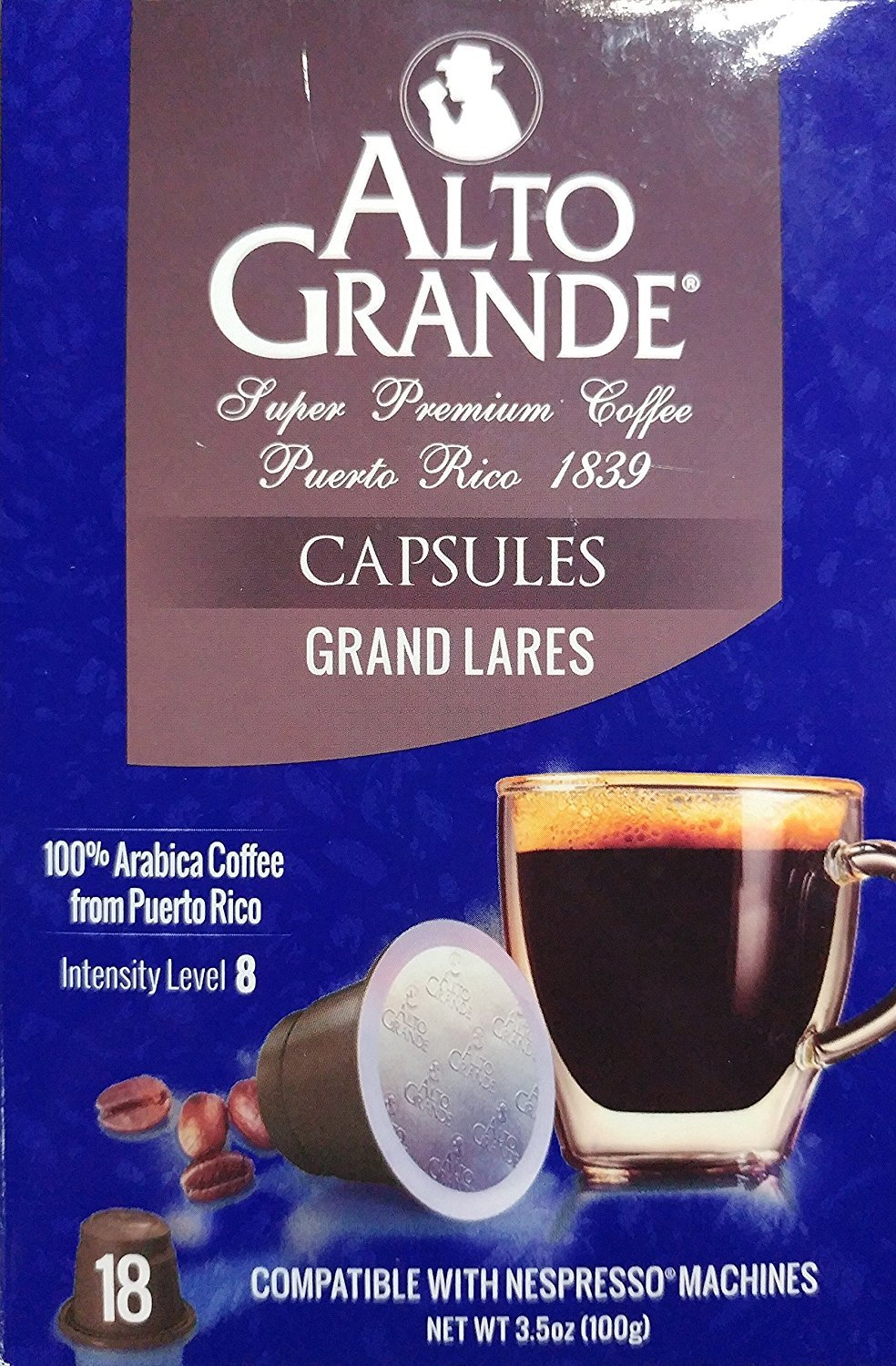 Alto Grande Grand Lares Coffee Capsules for Nespresso Machine (1 Box of 18 Capsules)