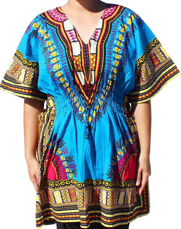Raan Pah Muang Ladies Dashiki Shirt Elastic Pull Waist V-Collar Variety Colors CA_AMZvariant15450MDL