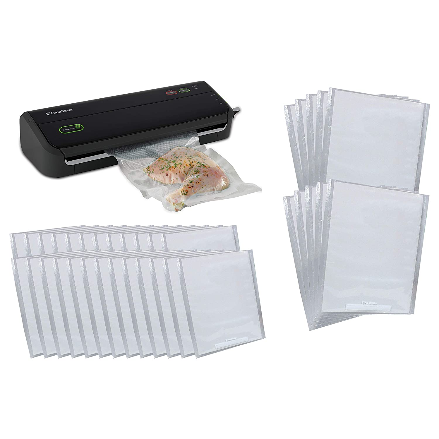 FoodSaver FM2000 Series Vacuum Sealer System with Starter Bags & Rolls & FoodSaver 25 1-Quart and 10 1-Gallon Pre-Cut Vacuum Seal Bags, Combo Pack