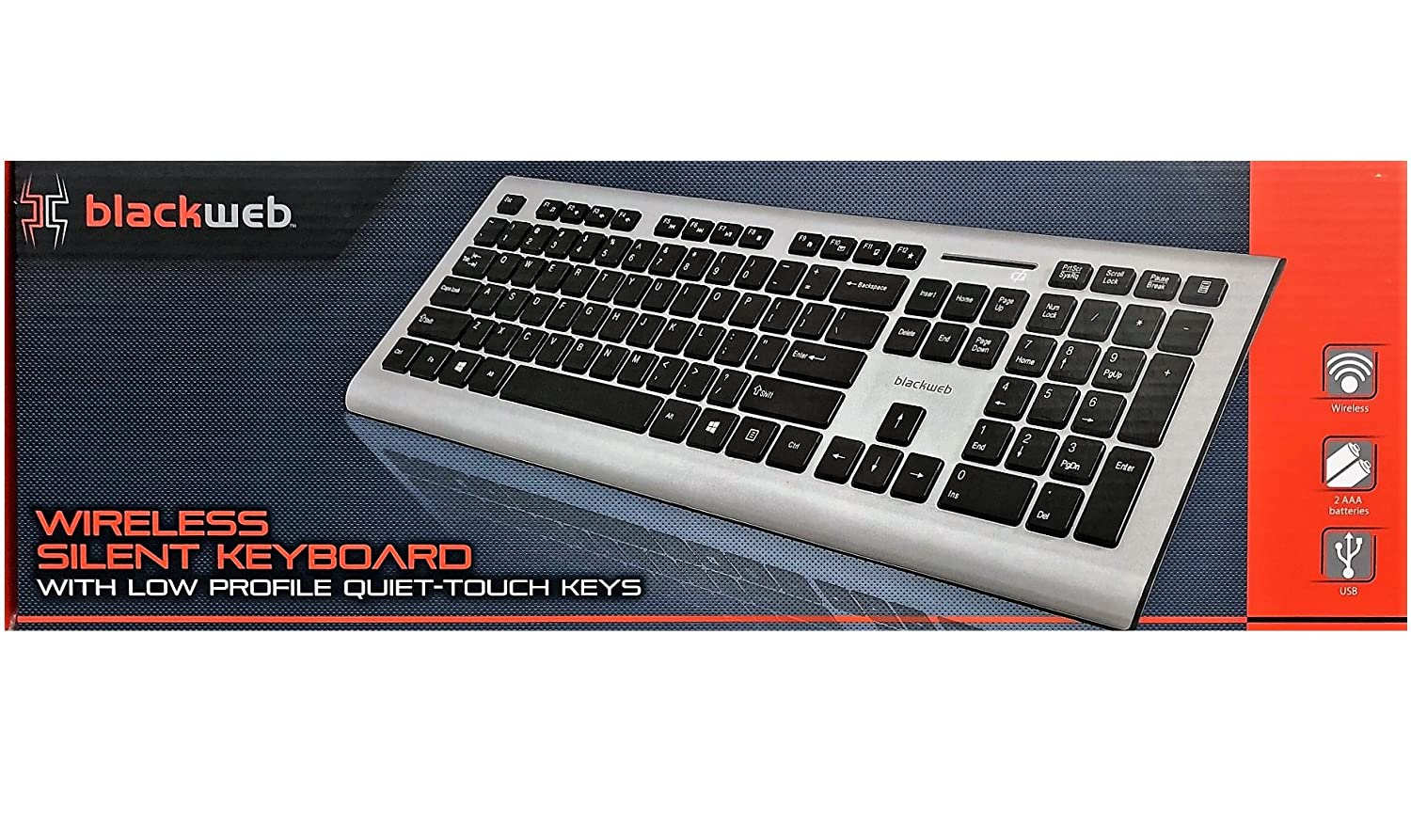 Blackweb Wireless Silent Keyboard with Low Profile Quiet-Touch Keys, Silver