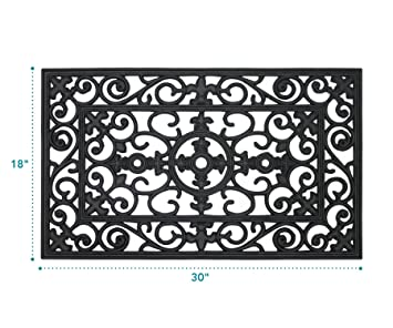 MILLIARD Rubber Door Mat, U0027Lillyu0027 Design Decorative Rubber Outdoor Doormat  30 ...