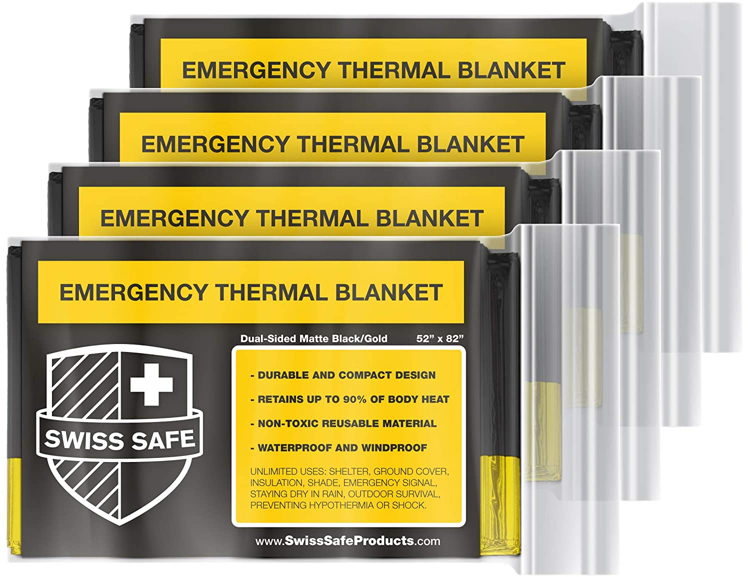 Swiss Safe Emergency Mylar Thermal Blankets (4-Pack) + Bonus Signature Gold Foil Space Blanket: Designed for NASA, Outdoors, Hiking, Survival, ...