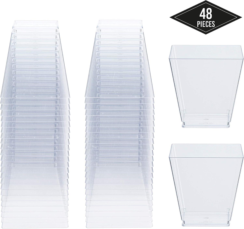 48 Copas de Postre de Plástico Desechables Transparentes, Tazas Cuadradas de Postre 225ml - Resistente y Reutilizable| Vasos para Postres Mousse Aperitivos Bebidas Fiesta Cumpleaños Bodas Navidad.