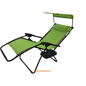 Deluxe Oversized Extra Large Zero Gravity Chair with Canopy + Tray - Lime Green