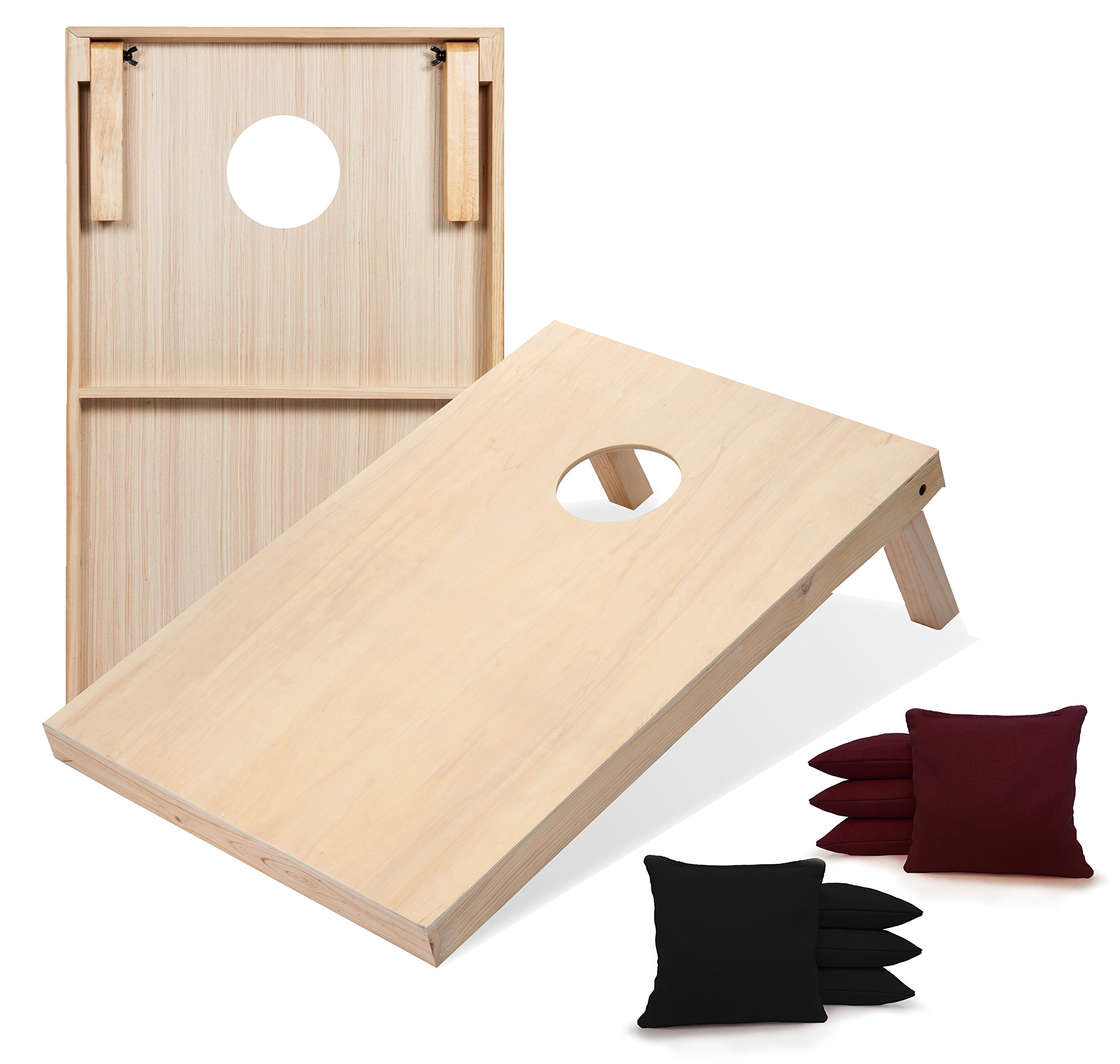 Tailgating Pros Solid Wood Premium Cornhole Boards with Corn Filled Bags - Regulation or Tailgating Size w/Optional Carrying Case & LED Lights by Tailgating Pros