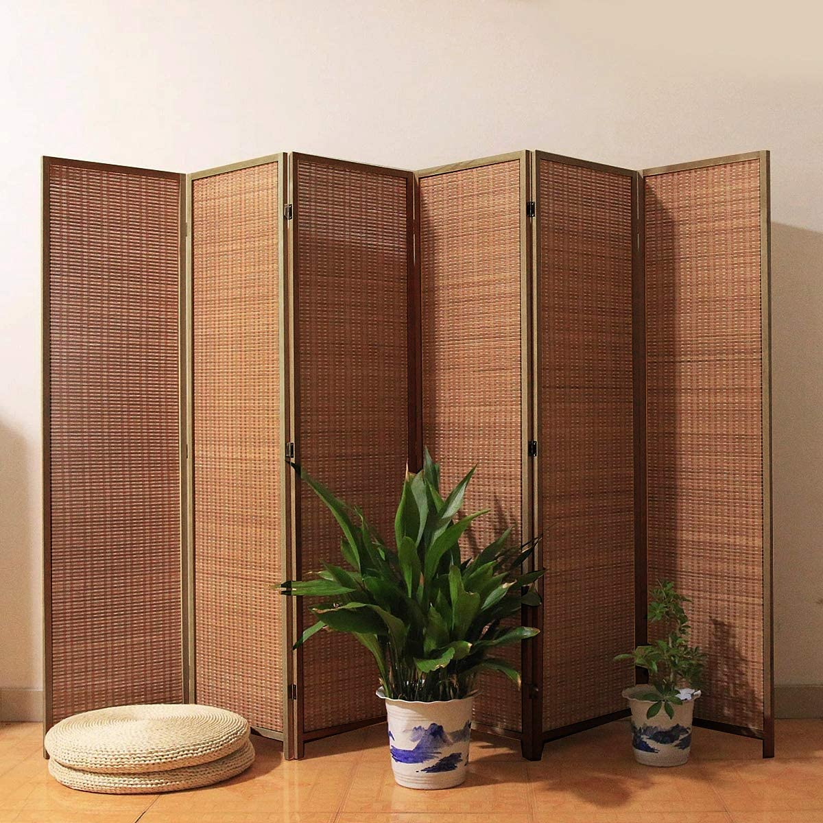 TinyTimes 6 FT Tall Bamboo Room Divider, 6 Panel Room Dividers & Folding Privacy Screens, Decorative Separation Wall Divider, Room Partitions, Freestanding - Brown, 6 Panel