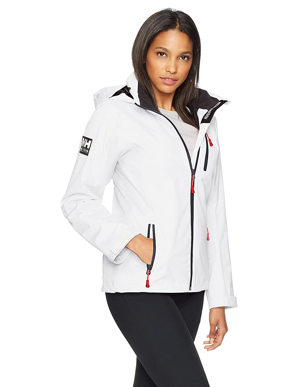 White Helly Hansen Women's Crew Midlayer Fleece Lined Waterproof Windproof Breathable Sailing Rain Coat Jacket with Stowable Hood