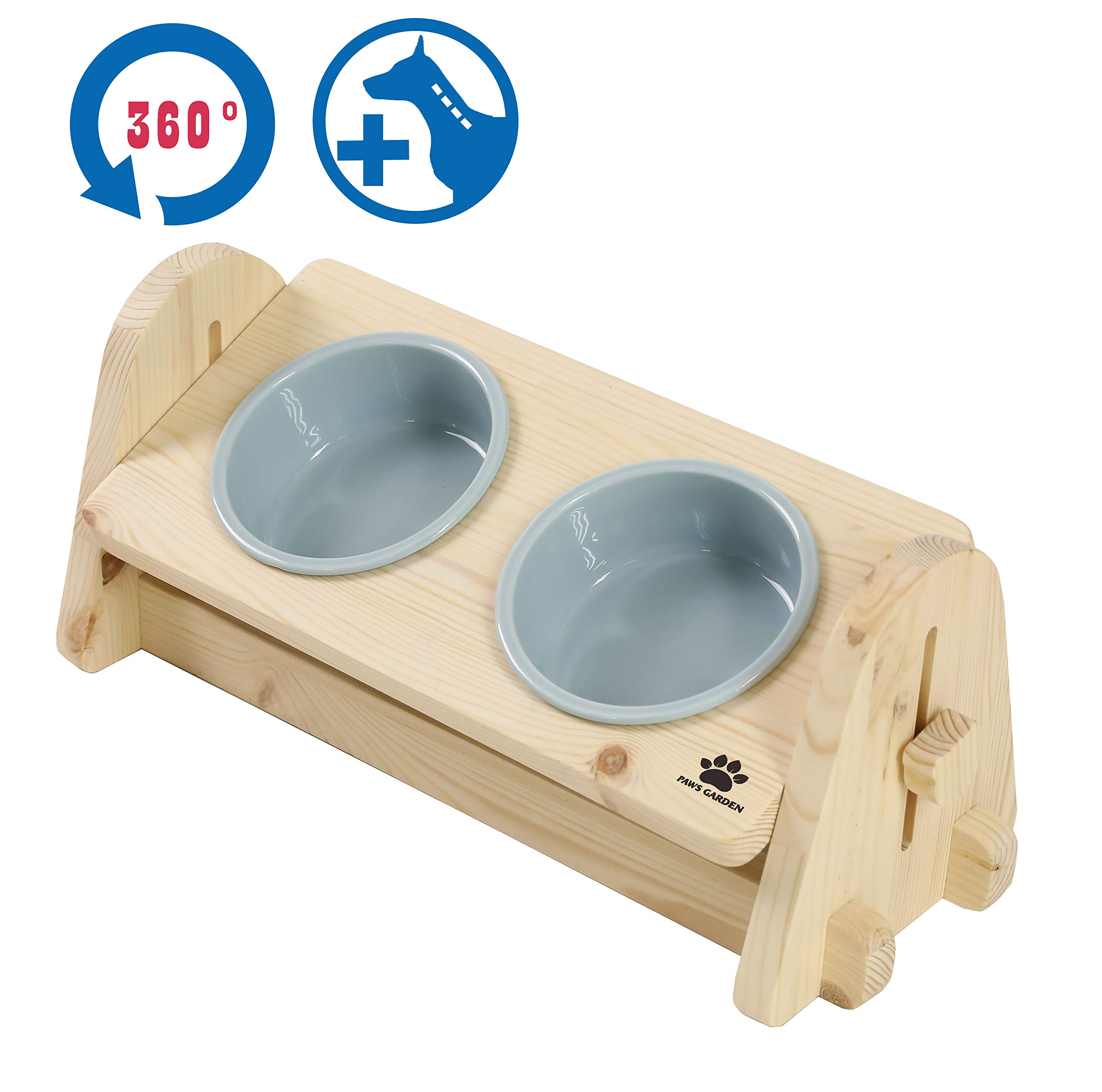 Paws Garden Premium 360º Angle Adjustable Elevated Wooden Pet Feeder, DIY Raised Feeder to aid Digestion for Dog, Cat with Double Ceramic Bowls (Sky Blue)