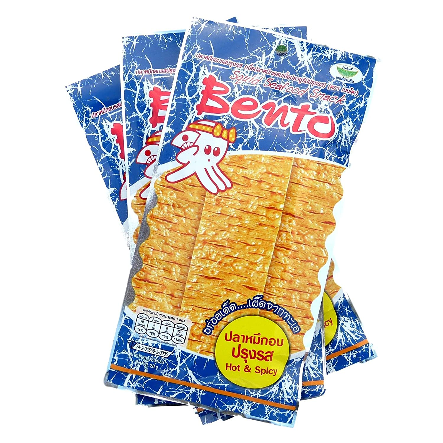 Bento Squid Seafood Snack Hot and Spicy Flavor 20 grams Pack of 3