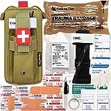 FalconTac Everyday Carry Trauma Kit IFAK Emergency Treatment Care EMT First Aid Kit (Tan)