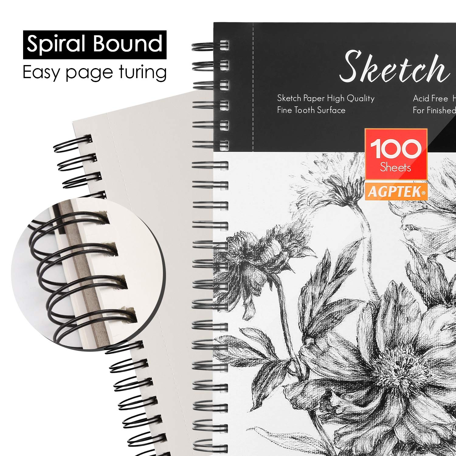 Writers /& Illustrators Spiral Bound with Easy-to-Remove Pages Sketch Book AGPTEK Art Sketch Book 9X12 2 Packs Great for Artists 68lb//100g