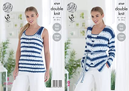 4067f33d670 King Cole 4769 Knitting Pattern Womens Easy Knit Cardigan and Top in King  Cole Cottonsoft Crush DK