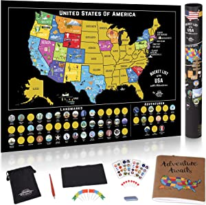 Scratch Off Map of The United States - Scratch Off USA Map Kit, 50 Pc Set, 85 Landmarks, US National Parks, Scratchable Adventure Maps Poster, Travel Journal, Gifts for Travelers by Bright Standards