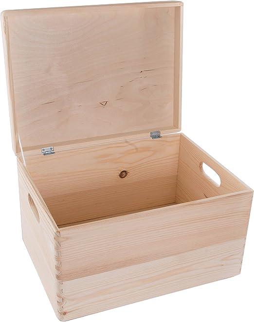 Caja de almacenamiento de madera rectangular con tapa, baúl de ...