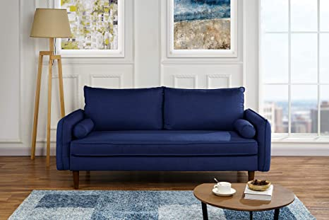 Prime Modern Living Room Fabric Sofa Couch With Bolster Pillows Dark Blue Ocoug Best Dining Table And Chair Ideas Images Ocougorg