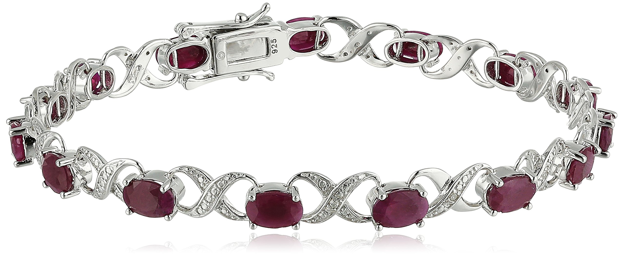 Sterling Silver 8 cttw Ruby and Diamond Accented XO XO Tennis Bracelet, 7.25''