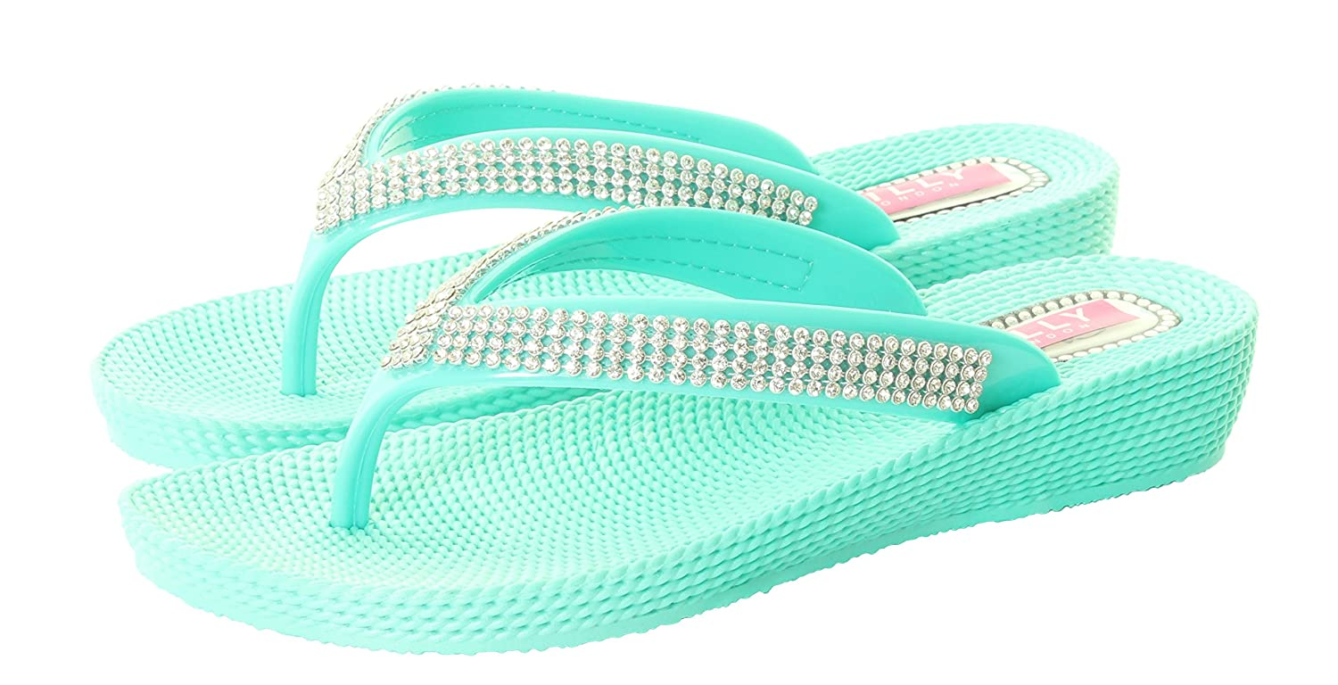 New Womens Ladies Diamante Flat Summer Sandal Flip Flops Beach Wedge Jelly Shoes