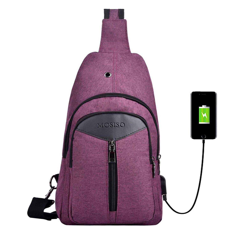 MOSISO Sling Backpack with USB Charging Port Polyester Travel Daypack Durable Chest Shoulder Unbalance Gym Fanny Crossbody Sack Satchel Outdoor Hiking Bag for Men Women Girls Boys Black