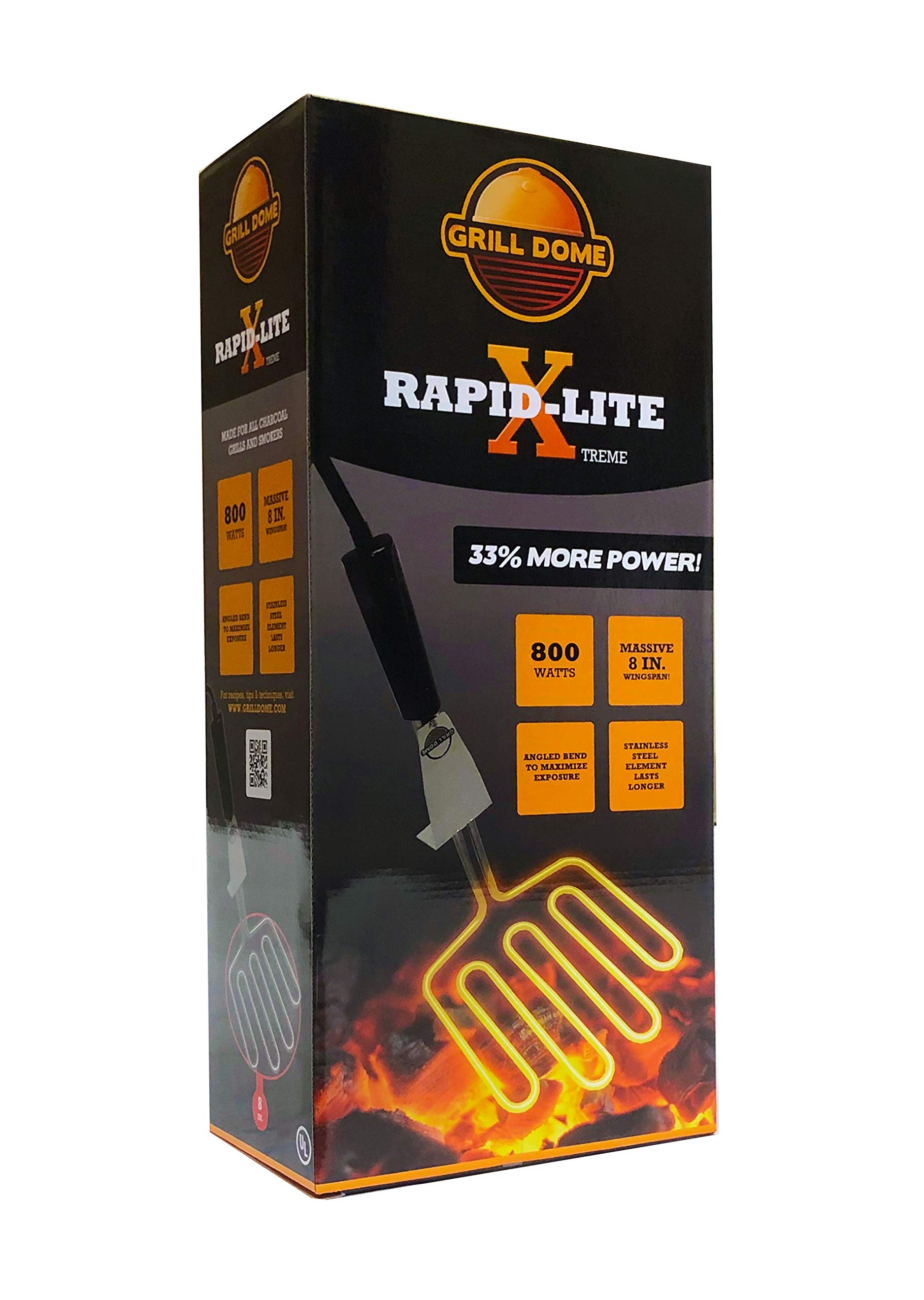 Grill Dome Rapid-X Electric Charcoal Lighter, Xtreme, Black by Grill Dome