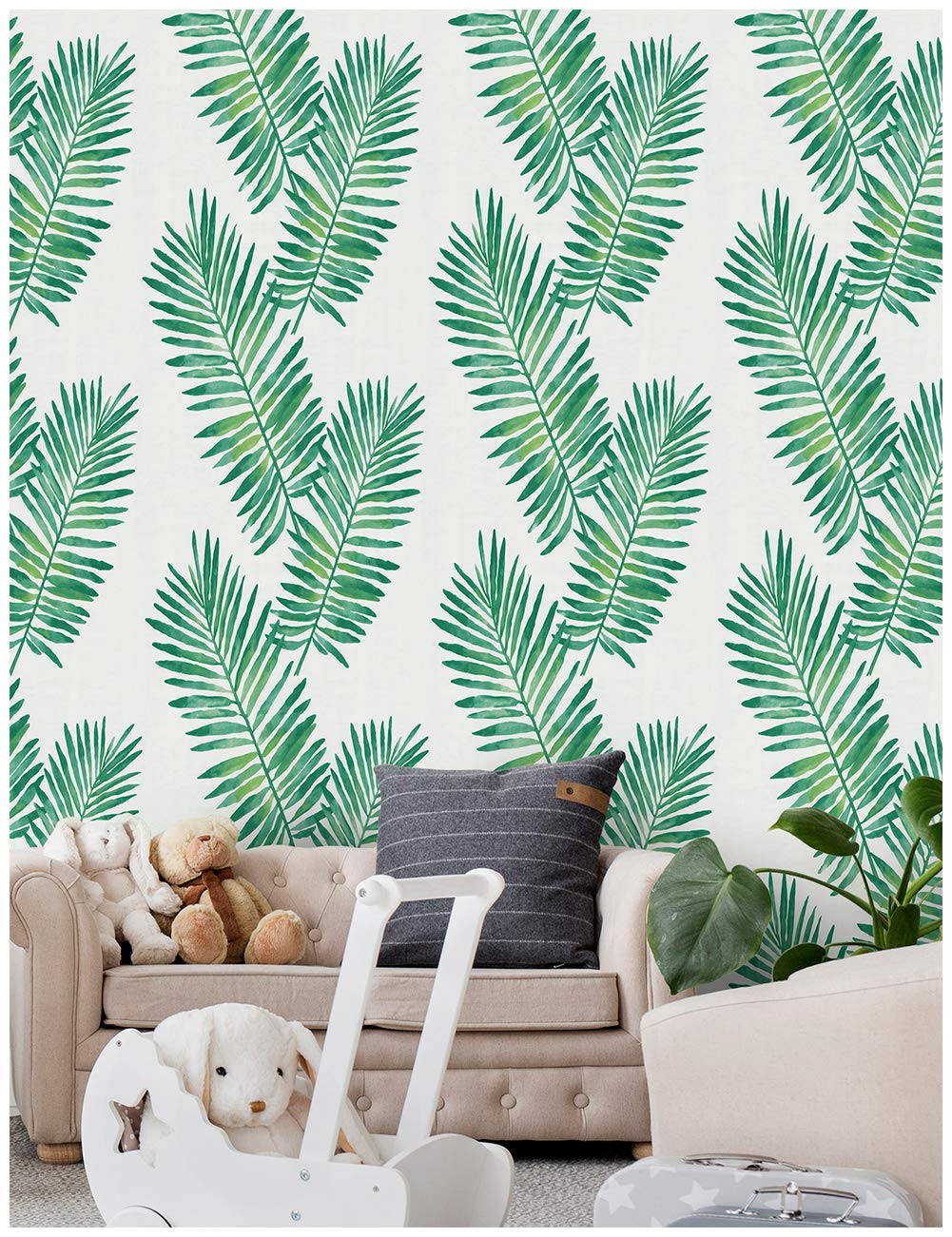 Tropical Palm Peel and Stick Wallpaper Removable Green White Vinyl Self Adhesive