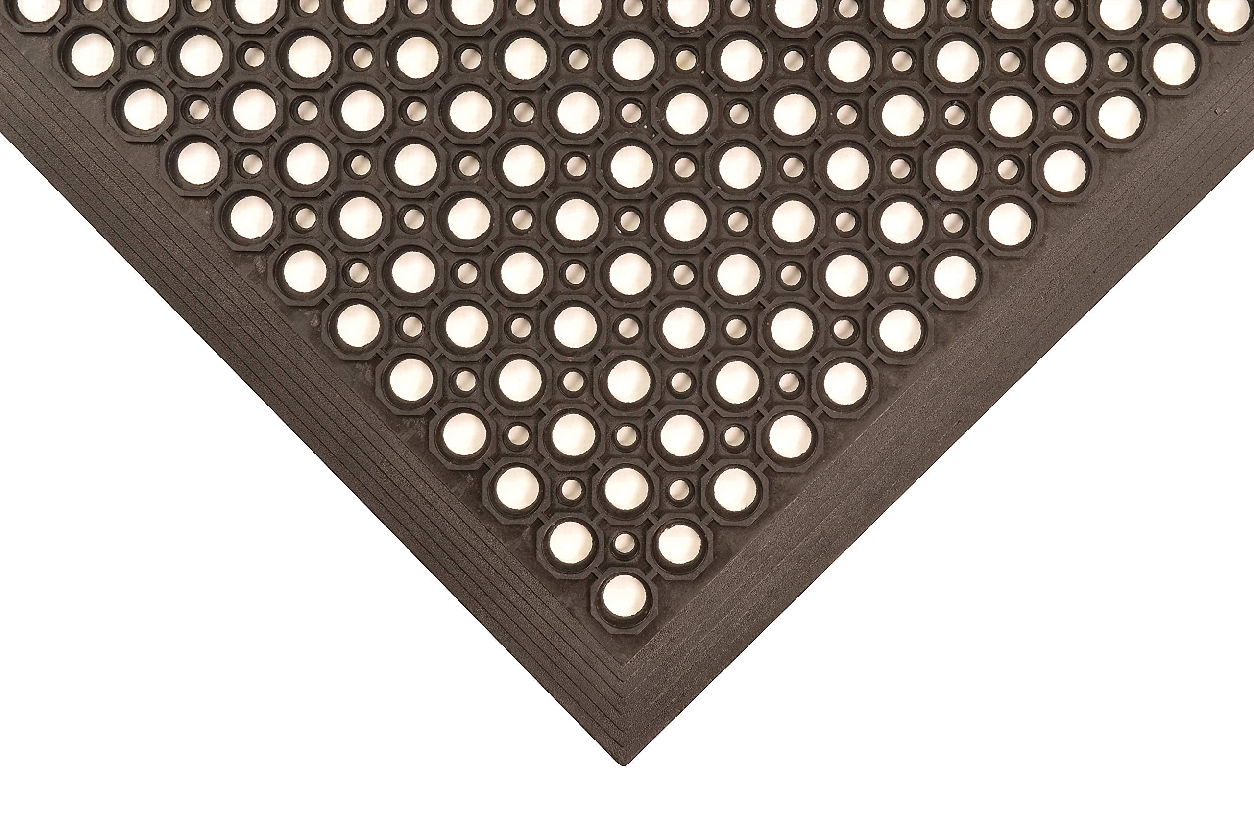 NoTrax T30 General Purpose Rubber Competitor Safety/Anti-Fatigue Mat, for Wet Areas, 3' Width x 5' Length x 1/2'' Thickness, Black