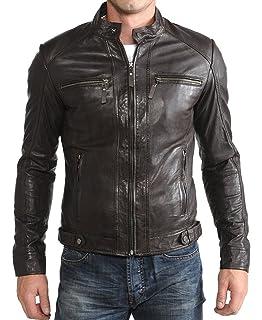 World of Leather Moto Lambskin Leather Jacket Biker Fur Double Collar